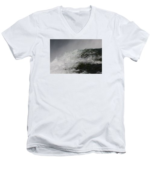 Men's V-Neck T-Shirt featuring the photograph On Edge by Vadim Levin