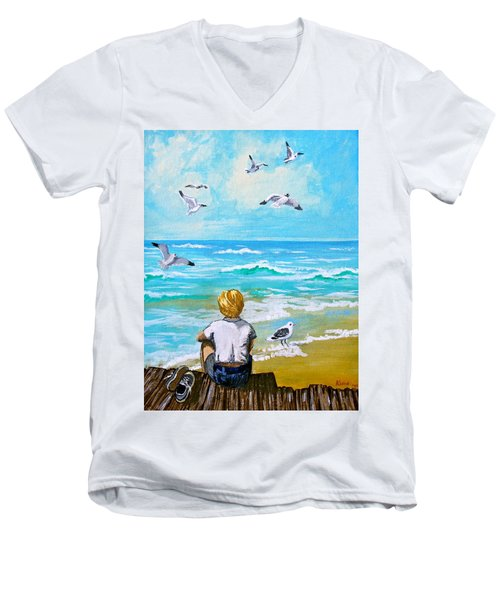 On The Boardwalk Men's V-Neck T-Shirt by Karon Melillo DeVega