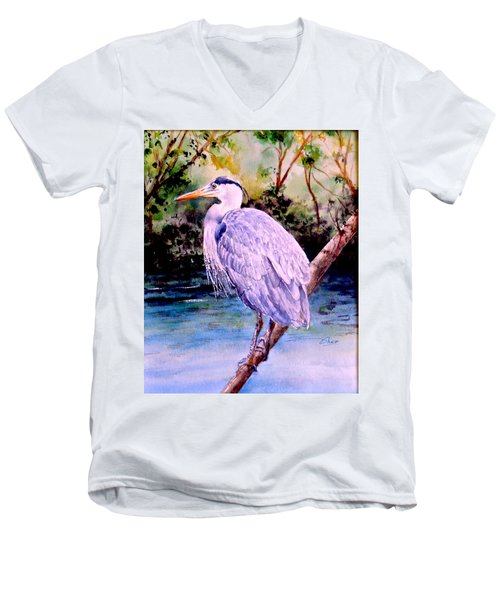 Men's V-Neck T-Shirt featuring the painting On The Lookout by Sher Nasser