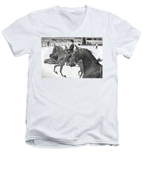 Men's V-Neck T-Shirt featuring the photograph On The Outside Charcoal by Alice Gipson