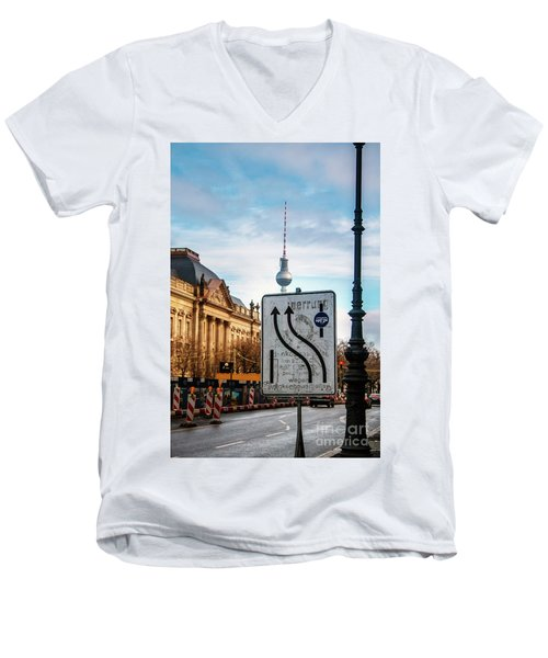On The Road In Berlin Men's V-Neck T-Shirt by Ana Mireles