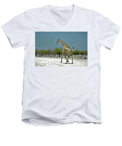 Men's V-Neck T-Shirt featuring the digital art On The Run Again by Ernie Echols