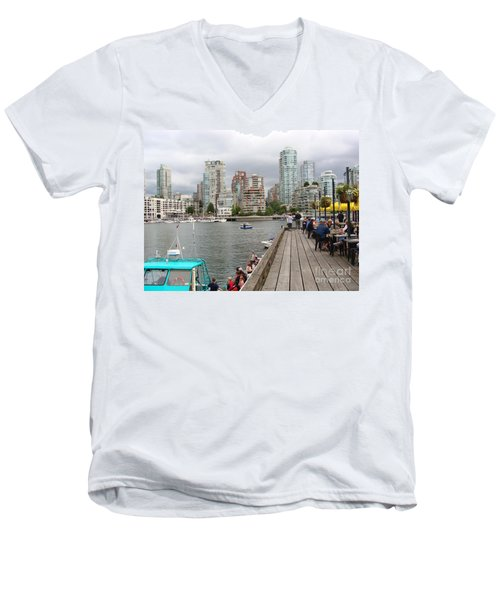 Men's V-Neck T-Shirt featuring the painting On The Water At False Creek Vancouver by Rod Jellison