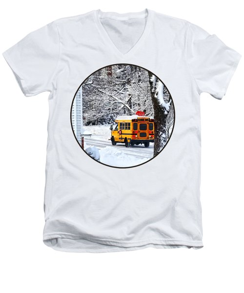 On The Way To School In Winter Men's V-Neck T-Shirt by Susan Savad