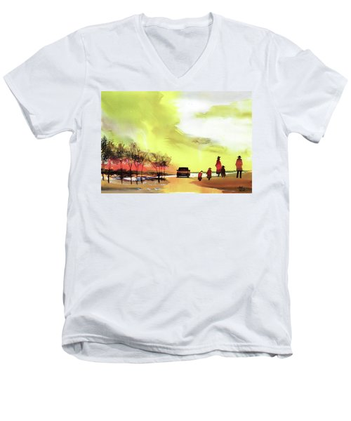 Men's V-Neck T-Shirt featuring the painting On Vacation by Anil Nene