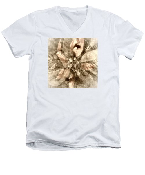 Once Upon Grandmom's Poinsettia Men's V-Neck T-Shirt