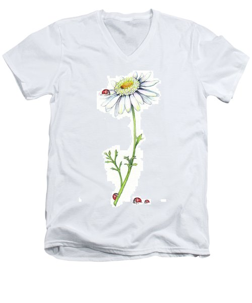 Men's V-Neck T-Shirt featuring the painting One Daisy And Four Ladybugs by Heidi Kriel