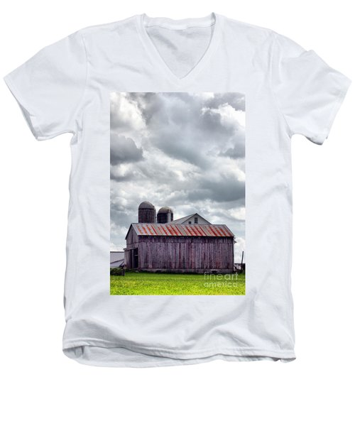 Men's V-Neck T-Shirt featuring the photograph One Fine Cloudy Day  by Polly Peacock