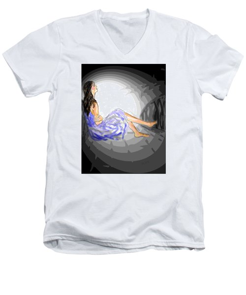 Men's V-Neck T-Shirt featuring the drawing One Sided Dreams by Desline Vitto