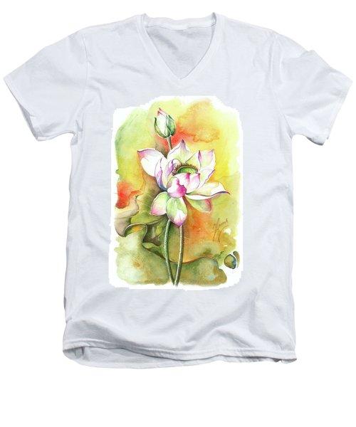 Men's V-Neck T-Shirt featuring the painting One Sunny Day by Anna Ewa Miarczynska