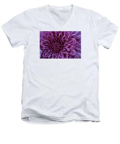 Men's V-Neck T-Shirt featuring the photograph Purple Mum by Glenn Gordon