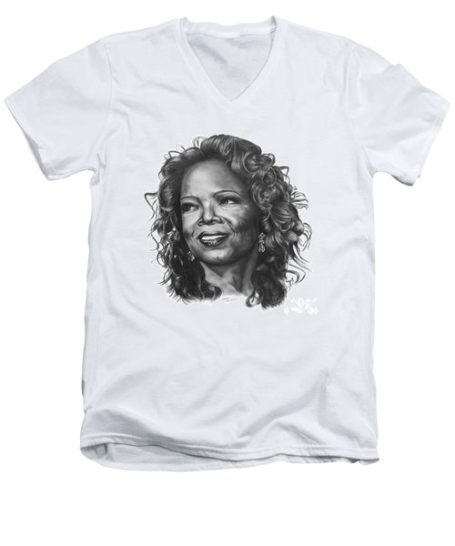 Men's V-Neck T-Shirt featuring the drawing Oprah by Marianne NANA Betts