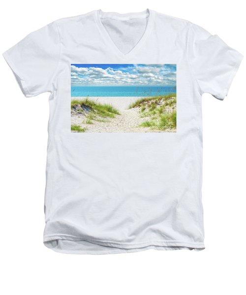 Men's V-Neck T-Shirt featuring the photograph Orange Beach Al Seascape 1086a by Ricardos Creations