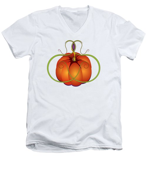 Orange Curvy Autumn Pumpkin Graphic Men's V-Neck T-Shirt