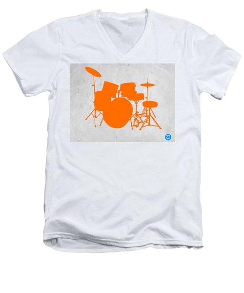Orange Drum Set Men's V-Neck T-Shirt