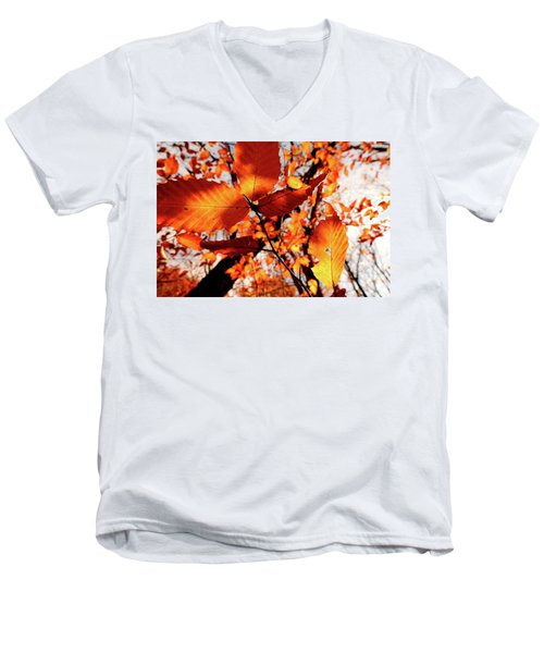 Men's V-Neck T-Shirt featuring the photograph Orange Fall Leaves by Meta Gatschenberger