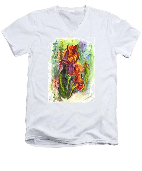Men's V-Neck T-Shirt featuring the painting Orange Ice by Carol Wisniewski