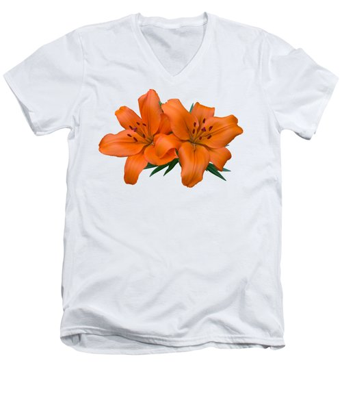 Men's V-Neck T-Shirt featuring the photograph Orange Lily by Jane McIlroy