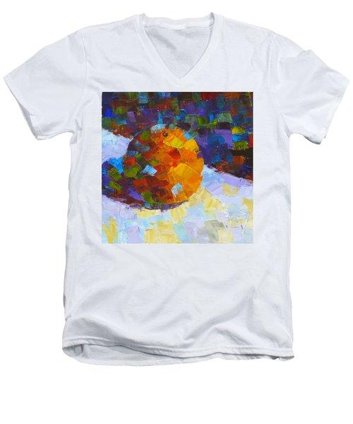 Orange Mosaic #3 Men's V-Neck T-Shirt by Susan Woodward