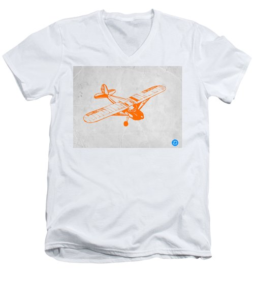 Orange Plane 2 Men's V-Neck T-Shirt by Naxart Studio