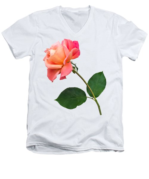 Men's V-Neck T-Shirt featuring the photograph Orange Rose Specimen by Jane McIlroy