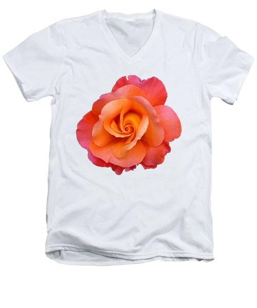 Orange Rosebud Highlight Men's V-Neck T-Shirt