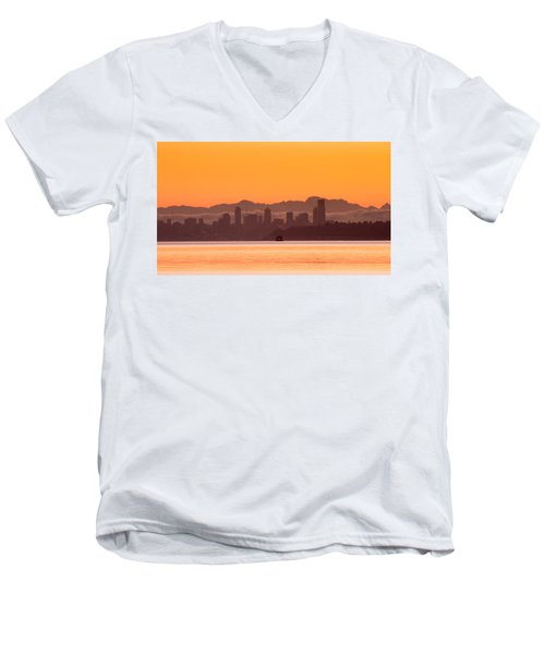 Seattle Skyline In Orange Men's V-Neck T-Shirt by E Faithe Lester