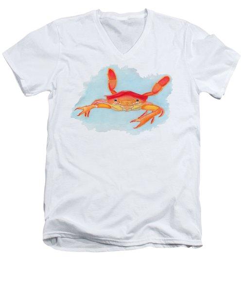 Orange Swimmer Crab Men's V-Neck T-Shirt
