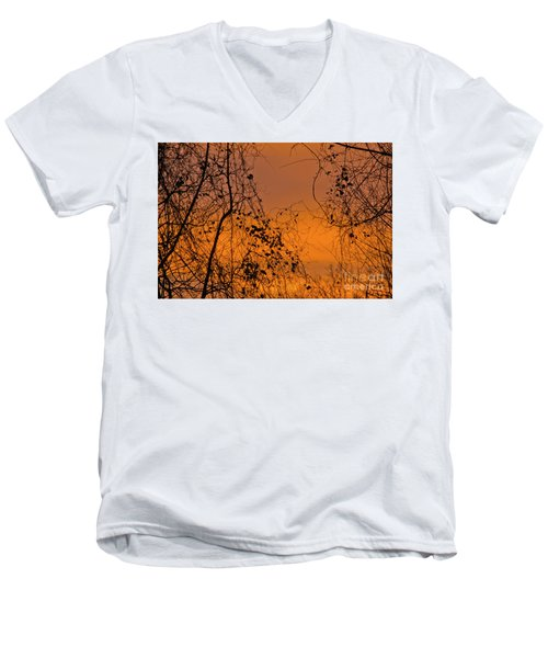 Orange Men's V-Neck T-Shirt