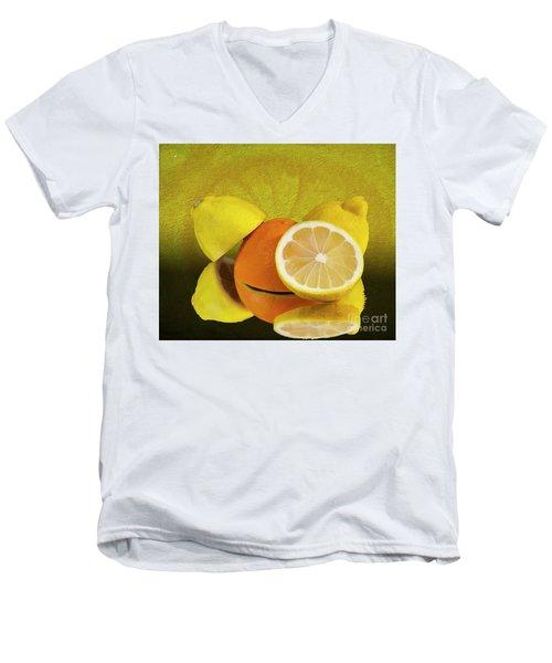 Oranges And Lemons Men's V-Neck T-Shirt by Shirley Mangini
