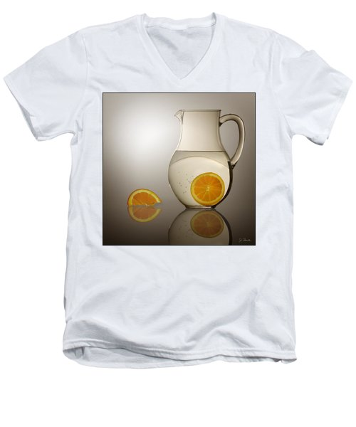 Men's V-Neck T-Shirt featuring the photograph Oranges And Water Pitcher by Joe Bonita
