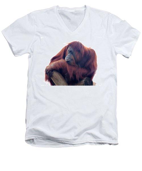 Orangutan - Color Version Men's V-Neck T-Shirt by Lana Trussell