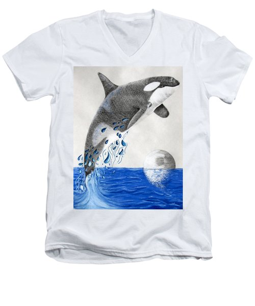 Men's V-Neck T-Shirt featuring the drawing Orca by Mayhem Mediums