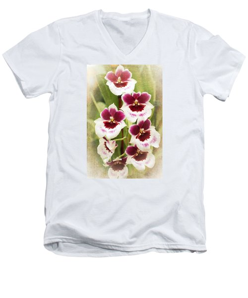 Orchid 2 Men's V-Neck T-Shirt by Catherine Lau