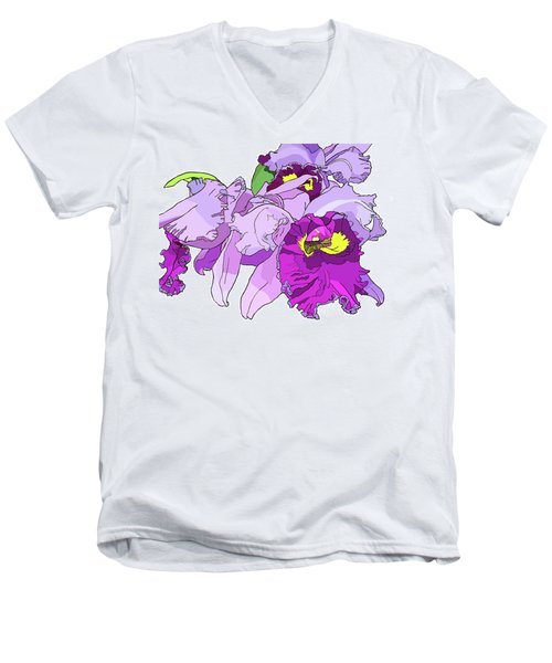Orchid Cluster Men's V-Neck T-Shirt by Jamie Downs