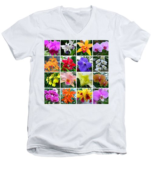 Orchid Collage Men's V-Neck T-Shirt