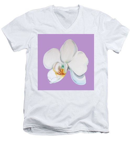 Men's V-Neck T-Shirt featuring the digital art Orchid On Lilac by Elizabeth Lock