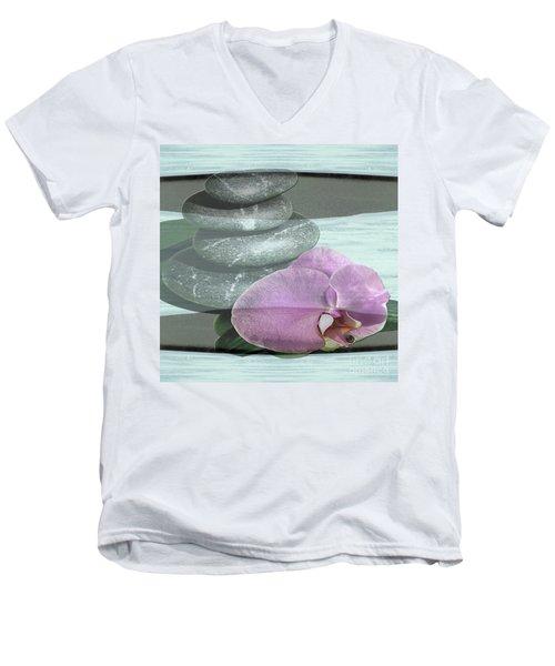 Men's V-Neck T-Shirt featuring the photograph Orchid Tranquility by Rockin Docks Deluxephotos