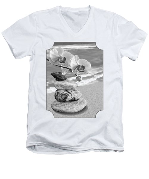 Orchids And Pebbles On The Sand In Black And White Men's V-Neck T-Shirt by Gill Billington