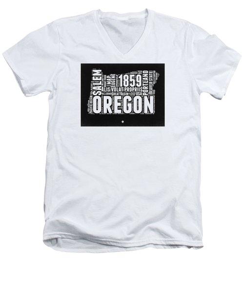 Oregon Black And White Map Men's V-Neck T-Shirt
