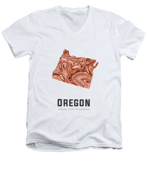 Oregon Map Art Abstract In Brown Men's V-Neck T-Shirt