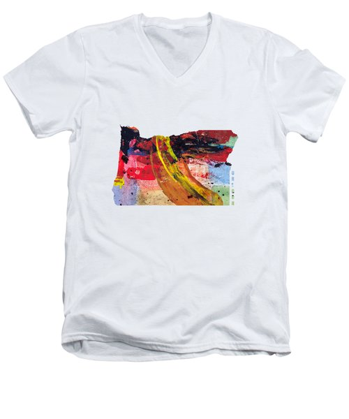 Oregon Map Art - Painted Map Of Oregon Men's V-Neck T-Shirt by World Art Prints And Designs