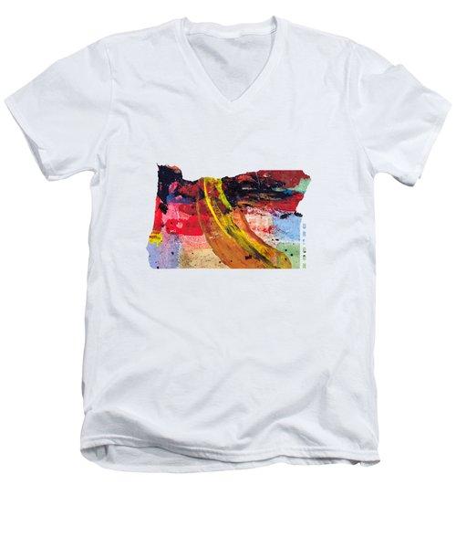 Oregon Map Art - Painted Map Of Oregon Men's V-Neck T-Shirt