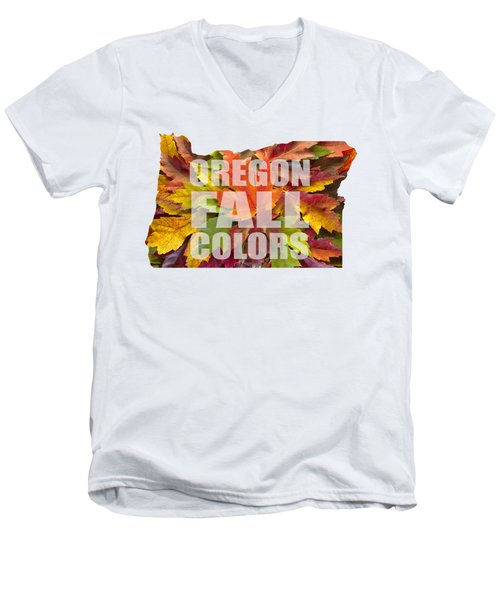 Oregon Maple Leaves Mixed Fall Colors Text Men's V-Neck T-Shirt