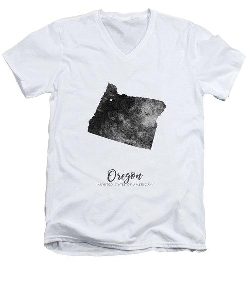 Oregon State Map Art - Grunge Silhouette Men's V-Neck T-Shirt