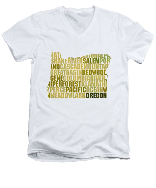 Oregon State Outline Word Map Men's V-Neck T-Shirt