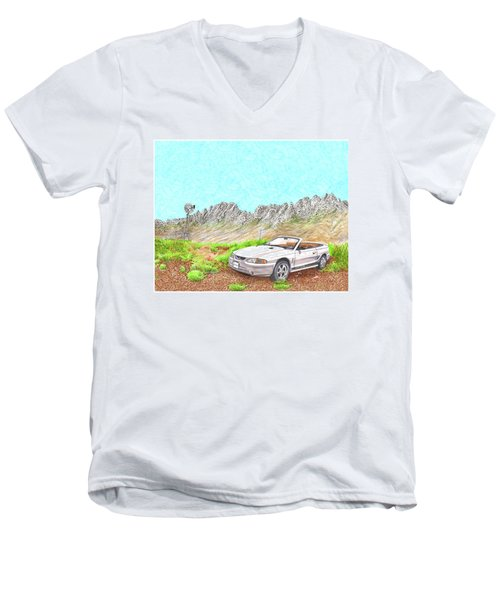 Men's V-Neck T-Shirt featuring the painting Organ Mountain Mustang by Jack Pumphrey
