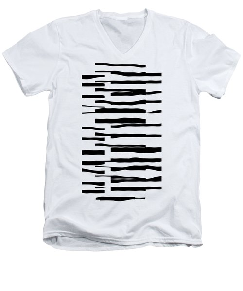 Organic No 13 Black And White Line Abstract Men's V-Neck T-Shirt