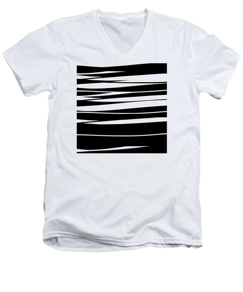 Organic No 9 Black And White Men's V-Neck T-Shirt
