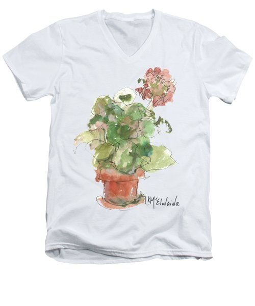 Original Buspaintings Geranium Watercolor Painting By Kathleen Mcelwaine Men's V-Neck T-Shirt by Kathleen McElwaine